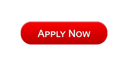 Apply now web interface button red color, online education program, vacancy, stock footage