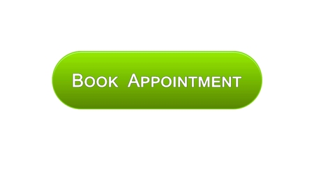 Book appointment web interface button green color, meeting date, calendar, stock footage Фото со стока - 99551126