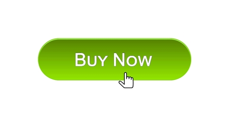 Buy now web interface button clicked with mouse cursor, green color, credit, stock footage Archivio Fotografico