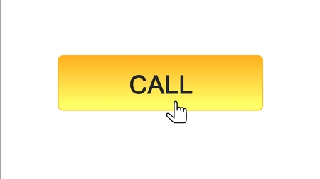 Call web interface button clicked mouse cursor, orange color, technical support, stock footage Reklamní fotografie