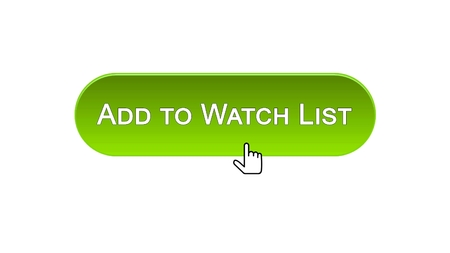Add to watch list web interface button clicked with mouse cursor, green color, stock footage