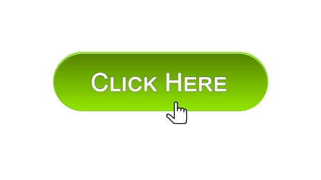 Click here web interface button clicked mouse cursor, green color, advertising, stock footage