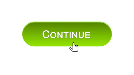 Continue web interface button clicked mouse cursor, green color, registration, stock footage