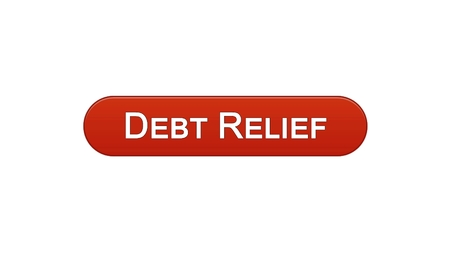 Debt relief web interface button wine red color, credit counseling, business, stock footage