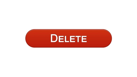 Delete web interface button wine red color, recycling app, erase information, stock footage