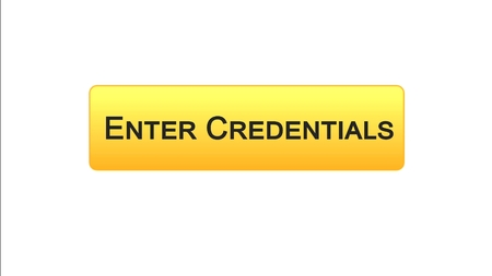 Enter credentials web interface button orange color, registration online service, stock footage