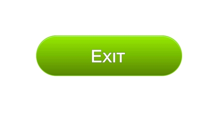 Exit web interface button green color, application log-out, internet design, stock footage