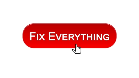 Fix everything web interface button clicked with mouse cursor, red color, stock footage