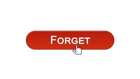 Forget web interface button clicked with mouse cursor, wine red color, mistake, stock footage