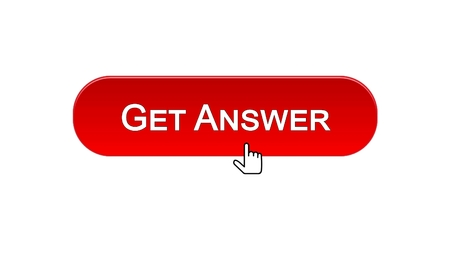 Get answer web interface button clicked with mouse cursor, red color, design, stock footage