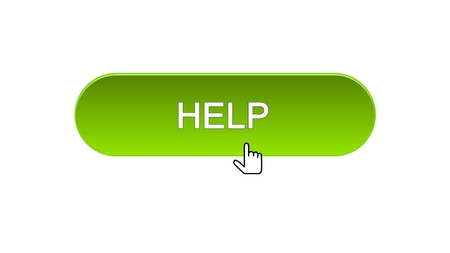 Help web interface button clicked with mouse cursor, green color, support online, stock footage Stock Photo