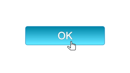 Ok web interface button clicked with mouse cursor, blue color, site design, stock footage