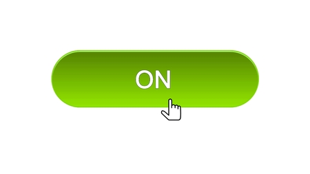 On web interface button clicked with mouse cursor, green color, online program, stock footage Stock Photo