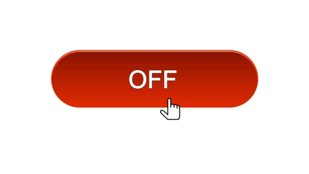 Off web interface button clicked with mouse cursor, red color, online program, stock footage