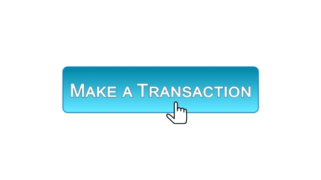 Make a transaction web interface button clicked with mouse cursor, blue color, stock footage