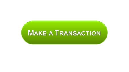 Make a transaction web interface button green color, online bank application, stock footage