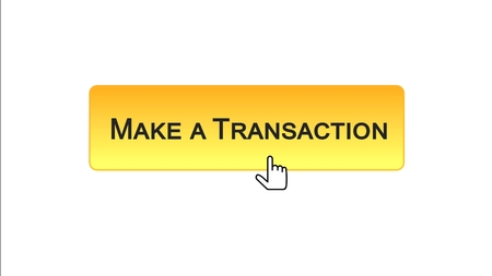 Make a transaction web interface button clicked with mouse cursor, orange color, stock footage