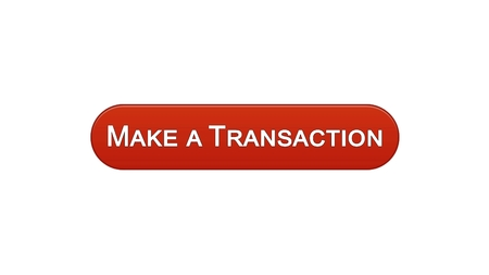 Make a transaction web interface button wine red color, online bank application, stock footage Archivio Fotografico