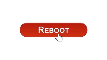 Reboot web interface button clicked with mouse cursor, wine red, site design, stock footage