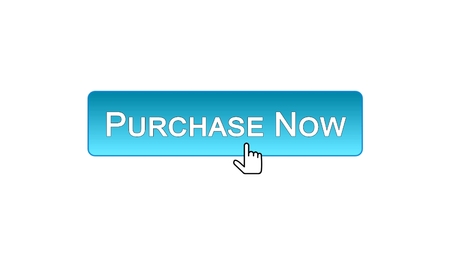 Purchase now web interface button clicked with mouse, blue color, marketing, stock footage