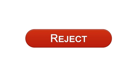 Reject web interface button wine red color, internet site design, access denied, stock footage Stock Photo
