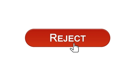 Reject web interface button clicked with mouse cursor, wine red, access denied, stock footage Stock Photo