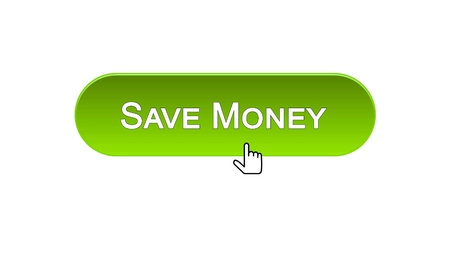 Save money web interface button clicked with mouse cursor, green color, banking, stock footage