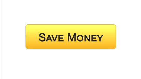 Save money web interface button orange color, online banking service, deposit, stock footage 写真素材