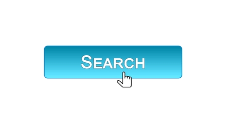 Search web interface button clicked with mouse cursor, blue color, monitoring, stock footage