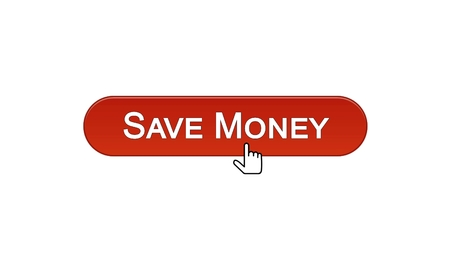 Save money web interface button clicked with mouse cursor, wine red, banking, stock footage Foto de archivo - 99720488