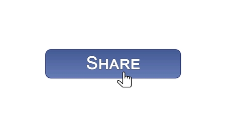 Share web interface button clicked with mouse cursor, violet color, application, stock footage