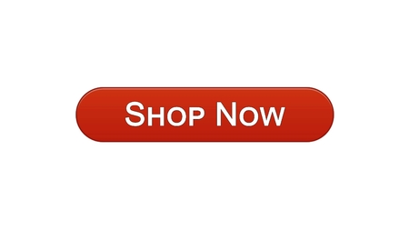 Shop now web interface button wine red color, online shopping, advertisement, stock footage