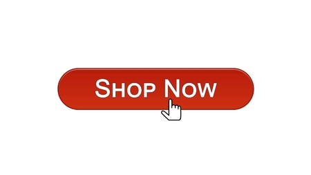 Shop now web interface button clicked with mouse cursor, wine red color, online, stock footage