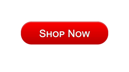 Shop now web interface button red color, online shopping service, advertisement, stock footage Archivio Fotografico
