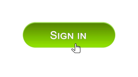 Sign in web interface button clicked with mouse cursor, green color, online, stock footage