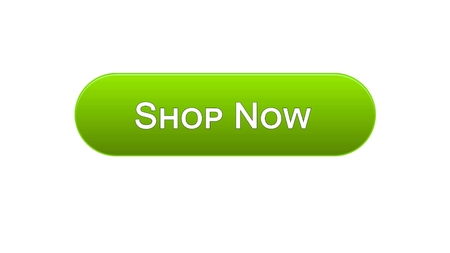 Shop now web interface button green color, online shopping, advertisement, stock footage