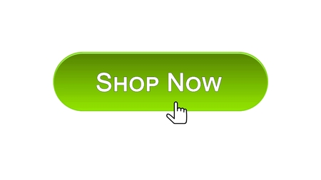 Shop now web interface button clicked with mouse cursor, green color, online, stock footage