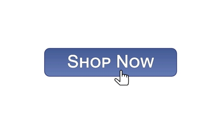 Shop now web interface button clicked with mouse cursor, violet color, online, stock footage