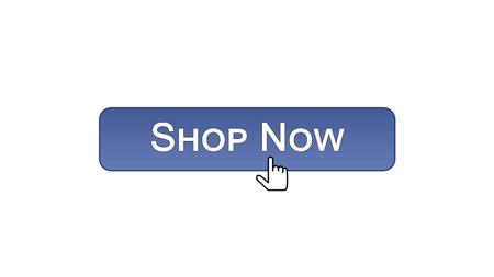 Shop now web interface button clicked with mouse cursor, violet color, online, stock footage Foto de archivo - 99720538