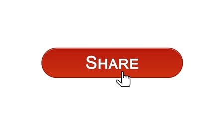 Share web interface button clicked with mouse cursor, wine red, social network, stock footage