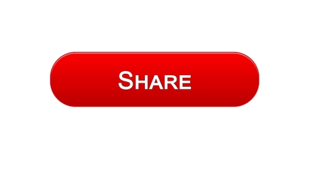 Share web interface button red color, social network application, communication, stock footage