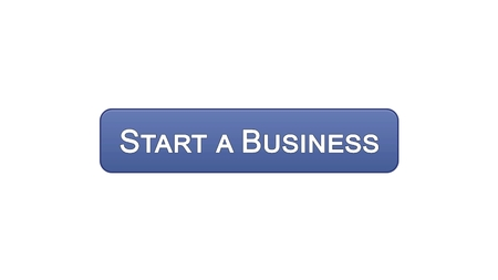 Start a business web interface button violet color, development plan, career, stock footage