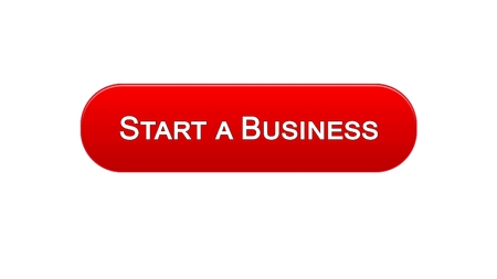 Start a business web interface button red color, development plan, career, stock footage Foto de archivo - 99720566