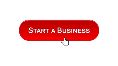 Start a business web interface button clicked with mouse cursor, red color, stock footage 写真素材