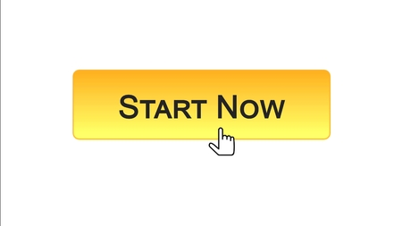 Start now web interface button clicked with mouse cursor, orange color, business, stock footage