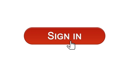 Sign in web interface button clicked with mouse cursor, wine red color, online, stock footage