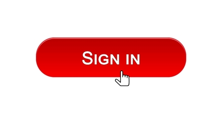 Sign in web interface button clicked with mouse cursor, red color, online, stock footage