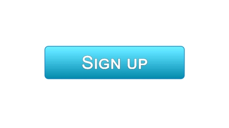 Sign up web interface button blue color, program authorization, password, stock footage Archivio Fotografico