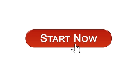 Start now web interface button clicked with mouse cursor wine red, business, stock footage Archivio Fotografico