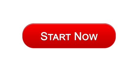 Start now web interface button red color, business development, innovation, stock footage